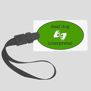 DeafDogIntepreterLogo Large Luggage Tag