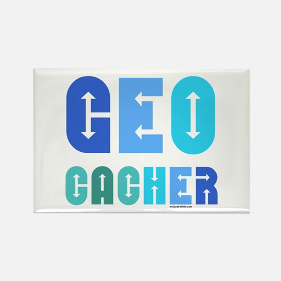 Geocacher Arrows Blue Rectangle Magnet