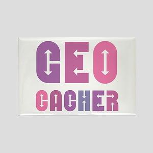 Geocacher Arrows Pink Rectangle Magnet