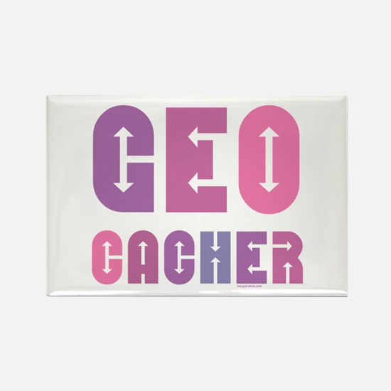 Geocacher Arrows Pinks Rectangle Magnet