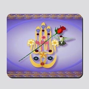 Wall Peel Hamsa and Flowers Oval Mousepad