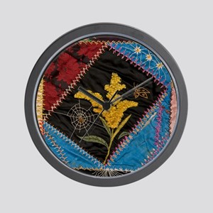 crazy quilt square Wall Clock