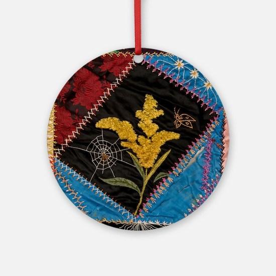 crazy quilt square Round Ornament