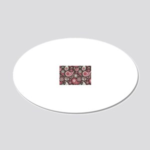 red paisley 20x12 Oval Wall Decal