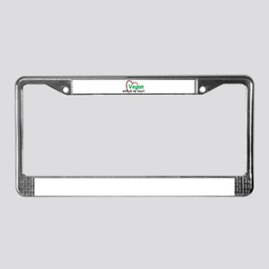 Vegan with all my Heart License Plate Frame