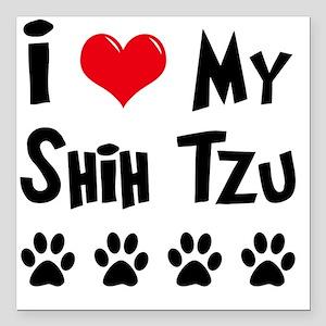 """I-Love-My-Shih-Tzu Square Car Magnet 3"""" x 3"""""""