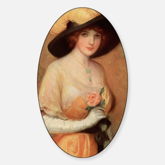 Victorian Lady with Rose Sticker (Oval)