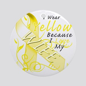 I Wear Yellow Because I Love My Wif Round Ornament