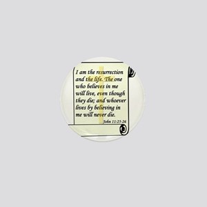 John 11-25-26 On Paper W Cross Mini Button