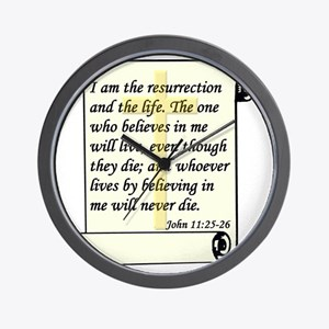 John 11-25-26 On Paper W Cross Wall Clock