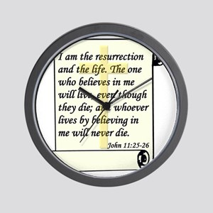 John 11-25-26 On Paper W Cross Wall Clock