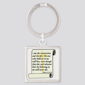 John 11-25-26 On Paper W Cross Square Keychain