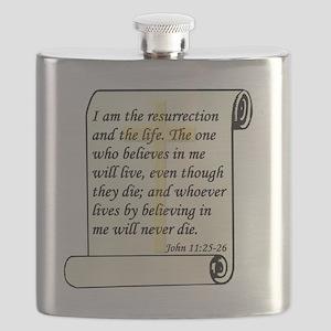 John 11-25-26 On Paper W Cross Flask