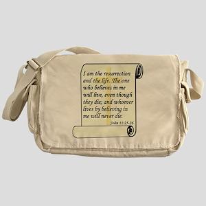 John 11-25-26 On Paper W Cross Messenger Bag