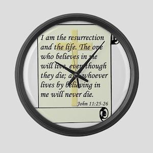 John 11-25-26 On Paper W Cross Large Wall Clock