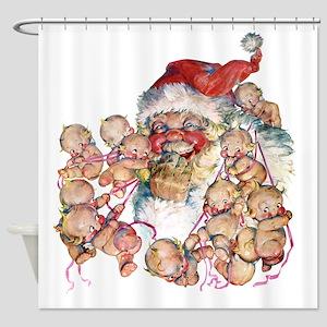 Kewpie Santa Shower Curtain