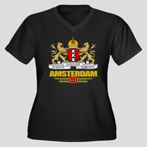Amsterdam CO Women's Plus Size Dark V-Neck T-Shirt