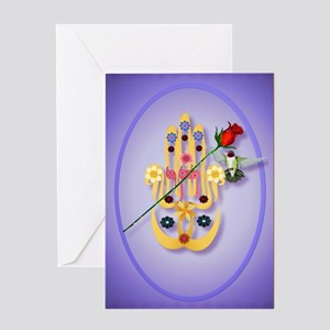 ornament_oval Hamsa and Flowers Greeting Card