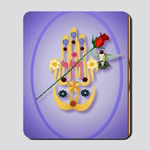 ornament_oval Hamsa and Flowers Mousepad