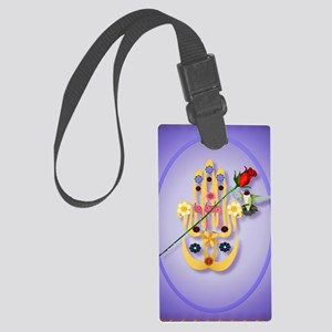 ornament_oval Hamsa and Flowers Large Luggage Tag