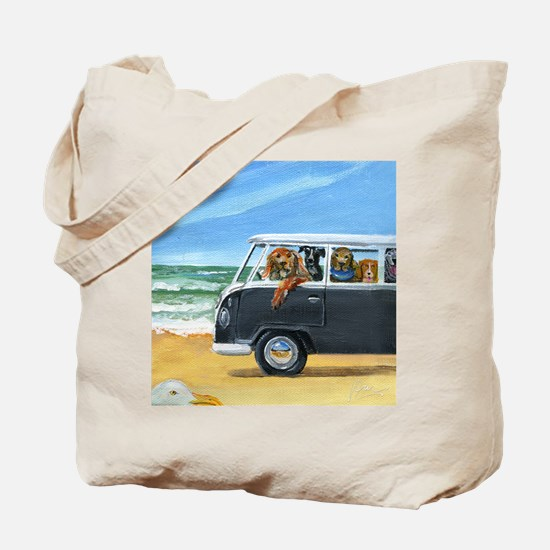 Bus Full of Dogs on the Beach Tote Bag