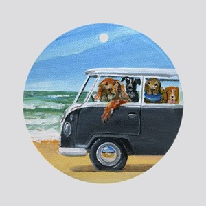 Bus Full of Dogs on the Beach Round Ornament