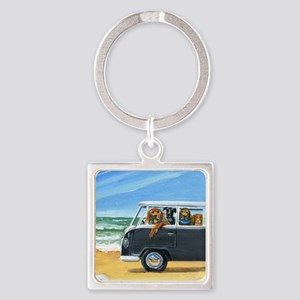 Bus Full of Dogs on the Beach Square Keychain
