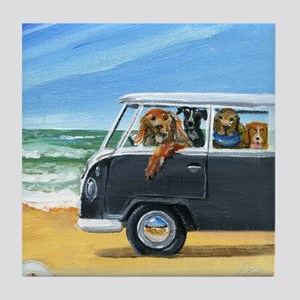 Bus Full of Dogs on the Beach Tile Coaster