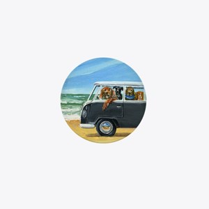 Bus Full of Dogs on the Beach Mini Button