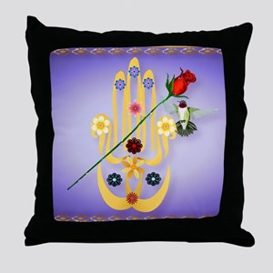 Hamsa and Flowers_mpad Throw Pillow