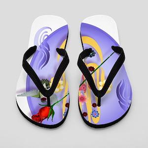 Flowered Hamsa Oval Trans Flip Flops