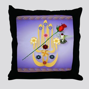 CalenderHamsa and Flowers Throw Pillow