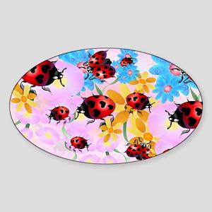 Yard Sigh-Lucky Love-Ladybug Sticker (Oval)