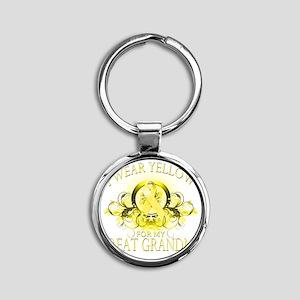 I Wear Yellow for my Great Grandma  Round Keychain