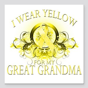 """I Wear Yellow for my Gre Square Car Magnet 3"""" x 3"""""""