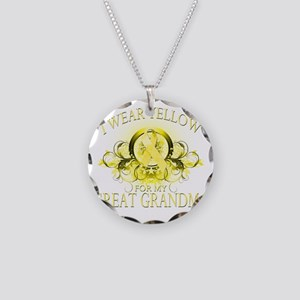 I Wear Yellow for my Great G Necklace Circle Charm