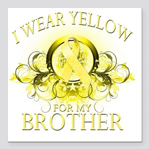 """I Wear Yellow for my Bro Square Car Magnet 3"""" x 3"""""""