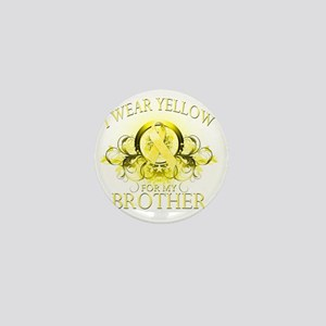 I Wear Yellow for my Brother (floral) Mini Button
