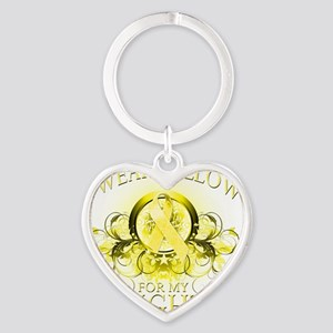 I Wear Yellow for my Daughter (flor Heart Keychain
