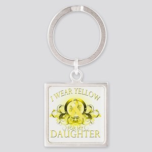 I Wear Yellow for my Daughter (flo Square Keychain