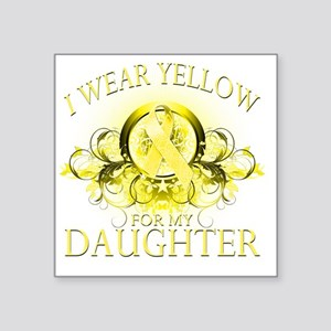 """I Wear Yellow for my Daught Square Sticker 3"""" x 3"""""""