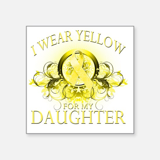 "I Wear Yellow for my Daught Square Sticker 3"" x 3"""