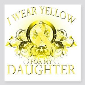 """I Wear Yellow for my Dau Square Car Magnet 3"""" x 3"""""""