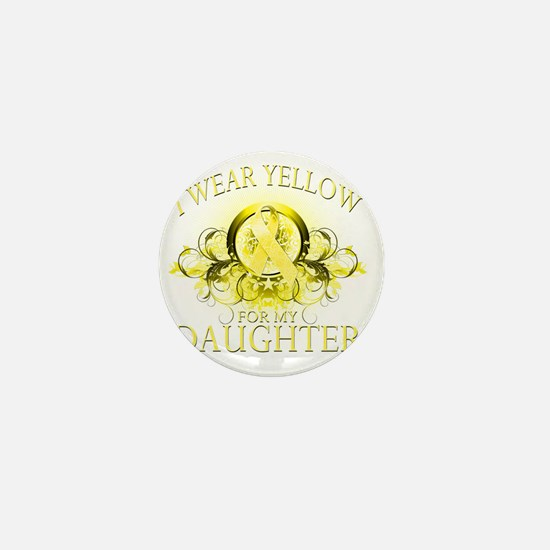 I Wear Yellow for my Daughter (floral) Mini Button
