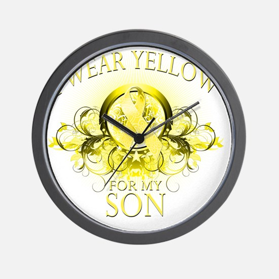 I Wear Yellow for my Son (floral) Wall Clock
