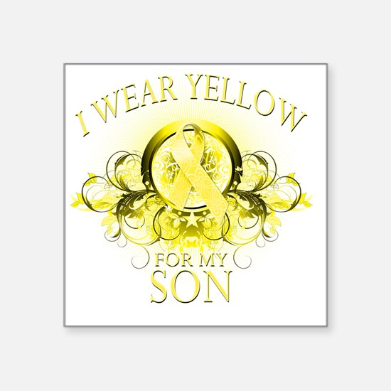 "I Wear Yellow for my Son (f Square Sticker 3"" x 3"""