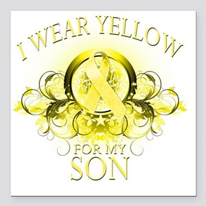 """I Wear Yellow for my Son Square Car Magnet 3"""" x 3"""""""