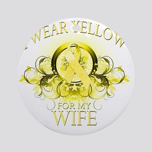I Wear Yellow for my Wife (floral) Round Ornament