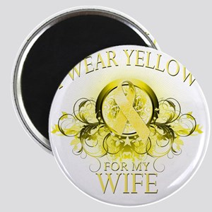 I Wear Yellow for my Wife (floral) Magnet