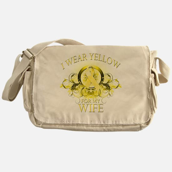 I Wear Yellow for my Wife (floral) Messenger Bag